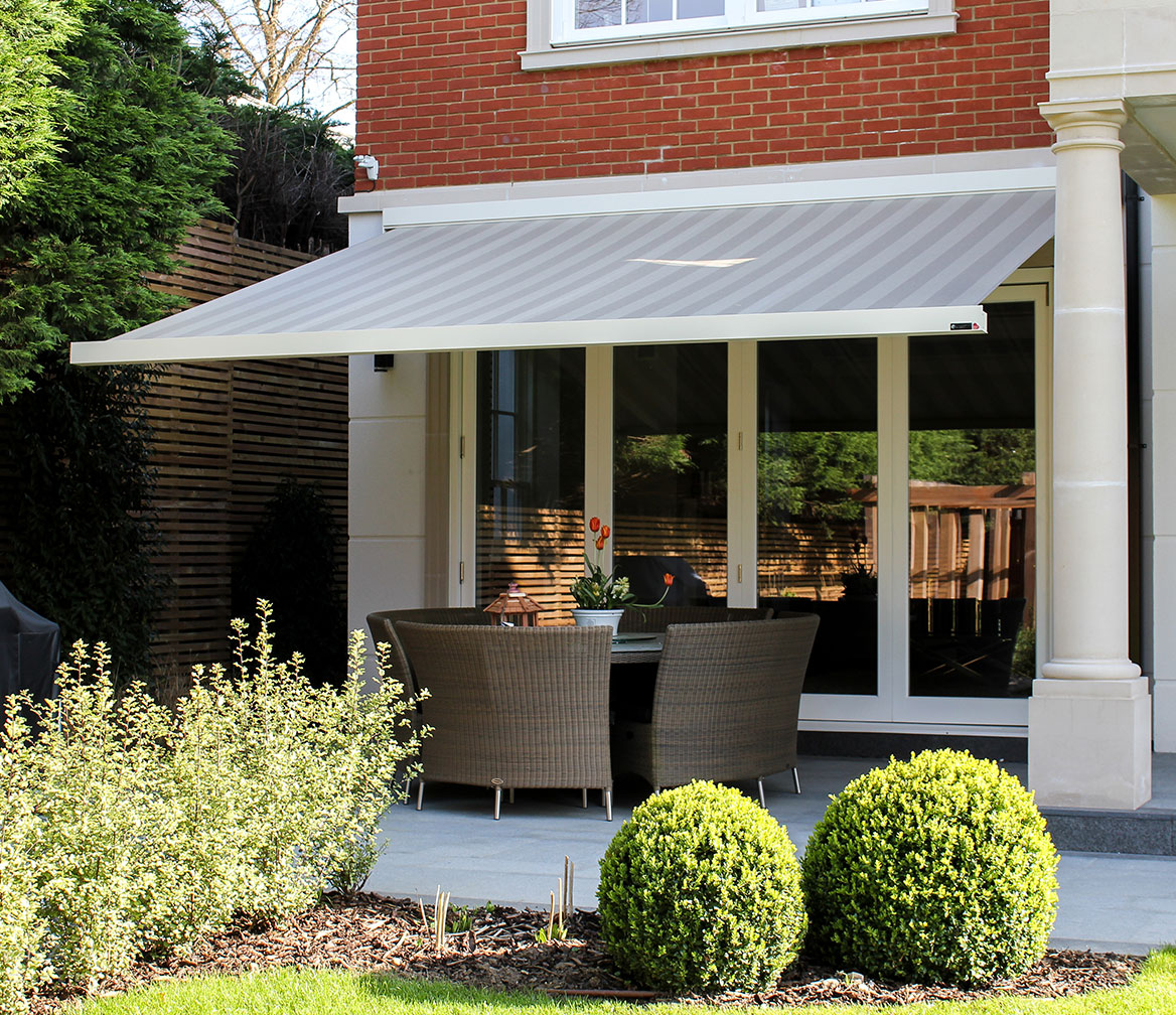 Grey stripey awning by Charltons Barnsley