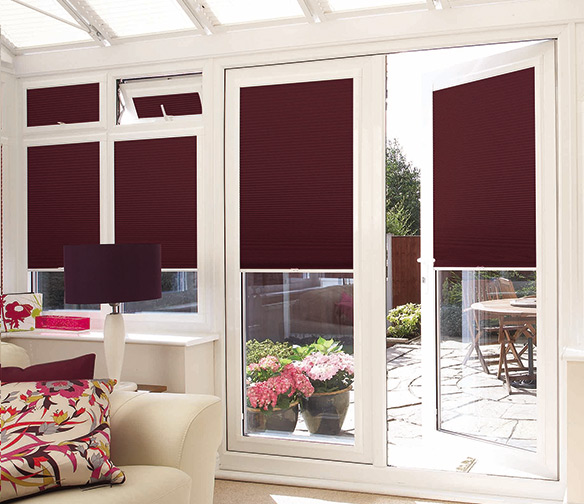 burgundy blinds, blackout blinds by Charltons Curtains and Blinds