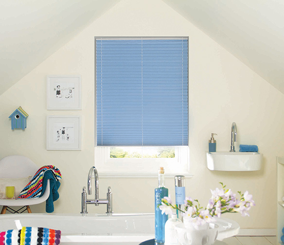 blue bathroom blinds by Charltons in Barnsley